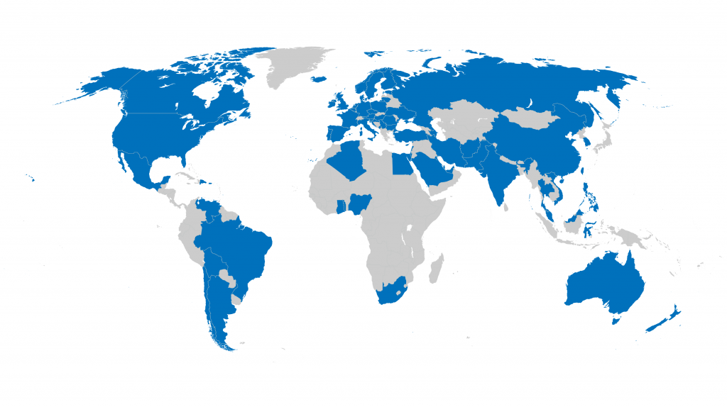 Countries with ANZRS downloaders, shown in blue